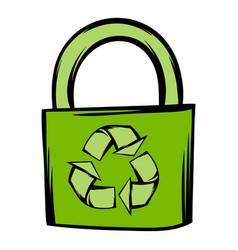 green eco bag icon cartoon vector image