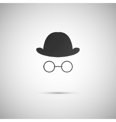 Hat with old glasses on background vector