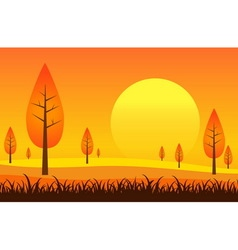 Landscape and sunset vector