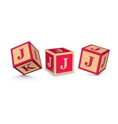 Letter j wooden alphabet blocks vector