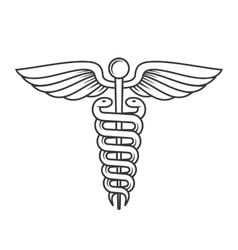Medical caduceus sign line style vector
