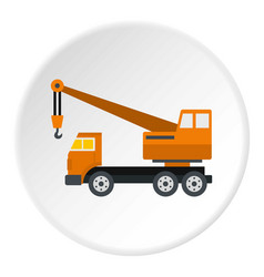 Orange truck crane icon circle vector