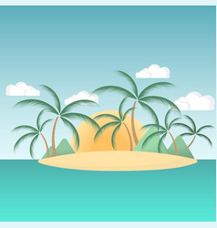 paradise island in the sea with palm trees and vector image vector image