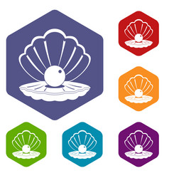 Pearl in a sea shell icons set hexagon vector
