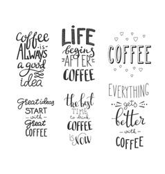 Quote coffee typography set vector