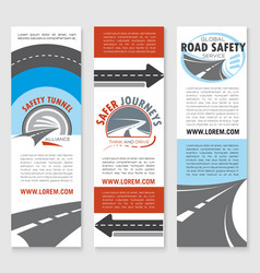 road safety banner template set with highway icons vector image vector image