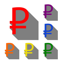 ruble sign set of red orange yellow green vector image