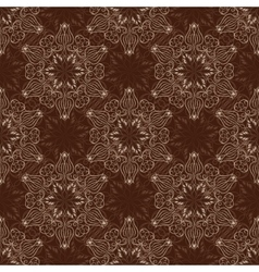 Seamless Mandala Pattern over dark brown vector image vector image