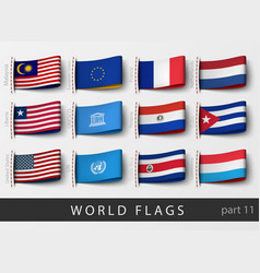 Set of flag labels vector
