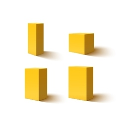 Set of four yellow blank boxes vector image vector image