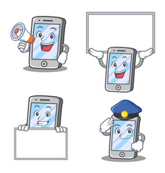 Set of iphone character with expression board vector