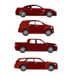 set of red cars vector image vector image