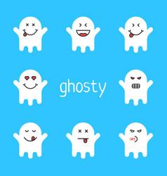 Set of white emoji ghost on blue background vector