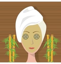 Spa woman towel facial mask care bamboo vector