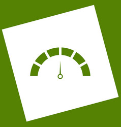 Speedometer sign white icon vector