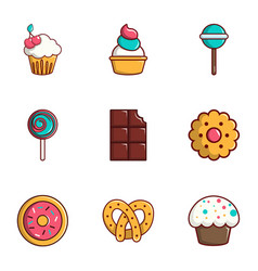 Tasty food icons set flat style vector