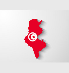 Tunisia map with shadow effect vector image vector image