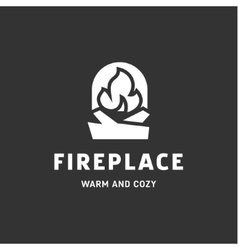 Urning fireplace with wood in an open fire sign vector
