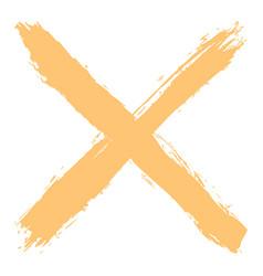 Yellow criss cross brushstroke delete sign vector