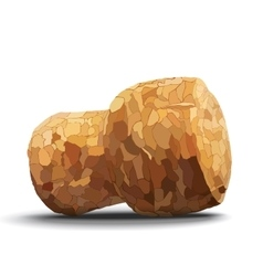 Champagne cork on white background shadow vector