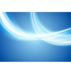 Blue white abstract glowing waves background vector