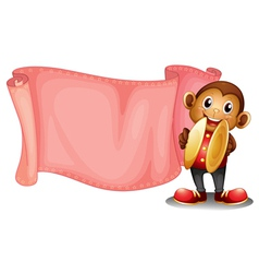 A pink empty banner with a monkey vector