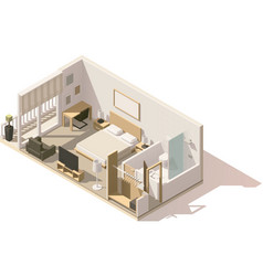 Isometric low poly hotel room icon vector