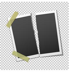 torn photo frame on transparent background vector image