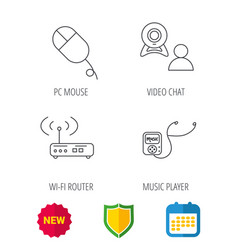 wi-fi router video chat and music player icons vector image