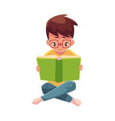 Little boy kid in glasses reading book sitting vector