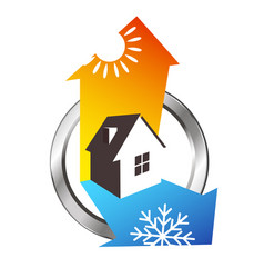 Heating and cooling house design vector