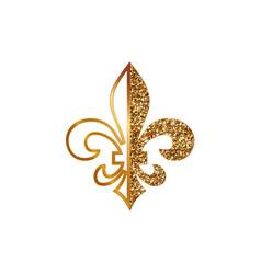 Fleur de lis symbols golden glittering - heraldic vector