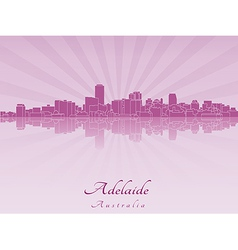Adelaide skyline in radiant orchid vector