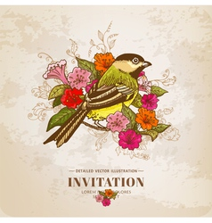 Vintage Card - Flowers and Bird vector image