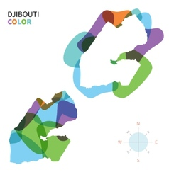 Abstract color map of djibouti vector