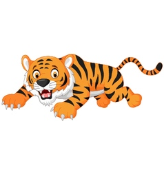 Cartoon tiger jumping vector