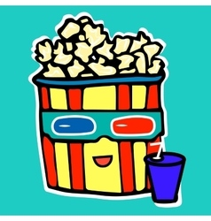 Popcorn drinks cola while watching a movie in a vector