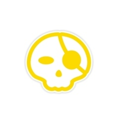 Sticker stylish skull with eye patch on white vector