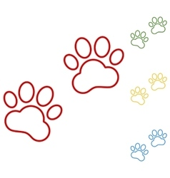 Animal tracks set of line icons vector