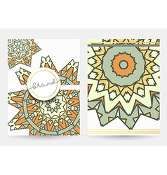 Leaflet with beige mandala realistic brochure vector