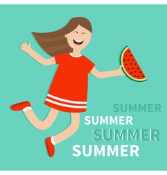 Hello summer greeting card girl jumping vector