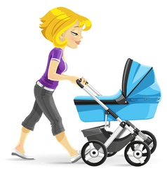Young mother walking with a blue stroller vector