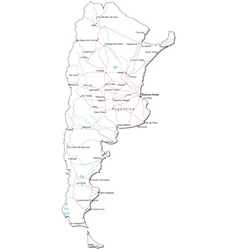 Black White Argentina Outline Map Royalty Free Vector Image - Argentina map black and white