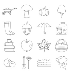 Autumn icons set outline ctyle vector