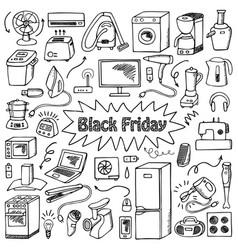 black friday household doodle set vector image