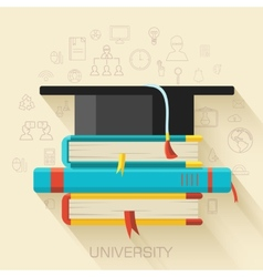 Book with square academic cap icon concept design vector