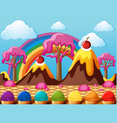 Candy land with chocolate mountains and icecream vector