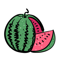 cartoon image of watermelon icon summer symbol vector image