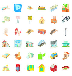 City icons set cartoon style vector