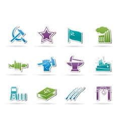 Communism and revolution icons vector